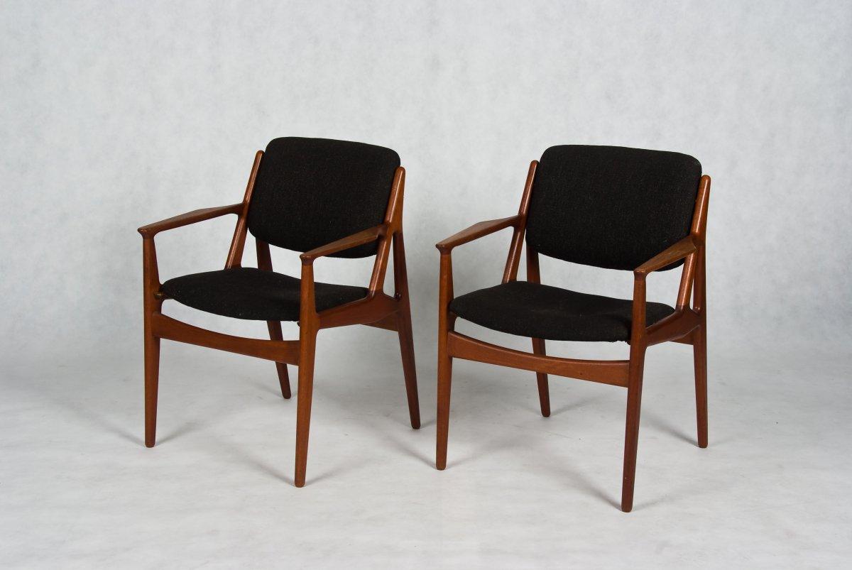 Danish teak arm chairs