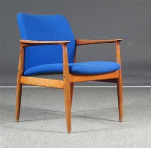 Danish Teak Easy Chair Blue Wool 1960s Model