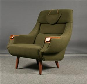 H W Klein Lounge Chair With Original Vintage Wool Fabric