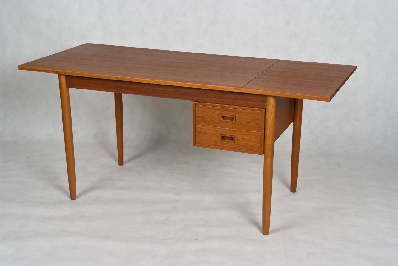 Small Danish Vintage Desk Teak And Oak