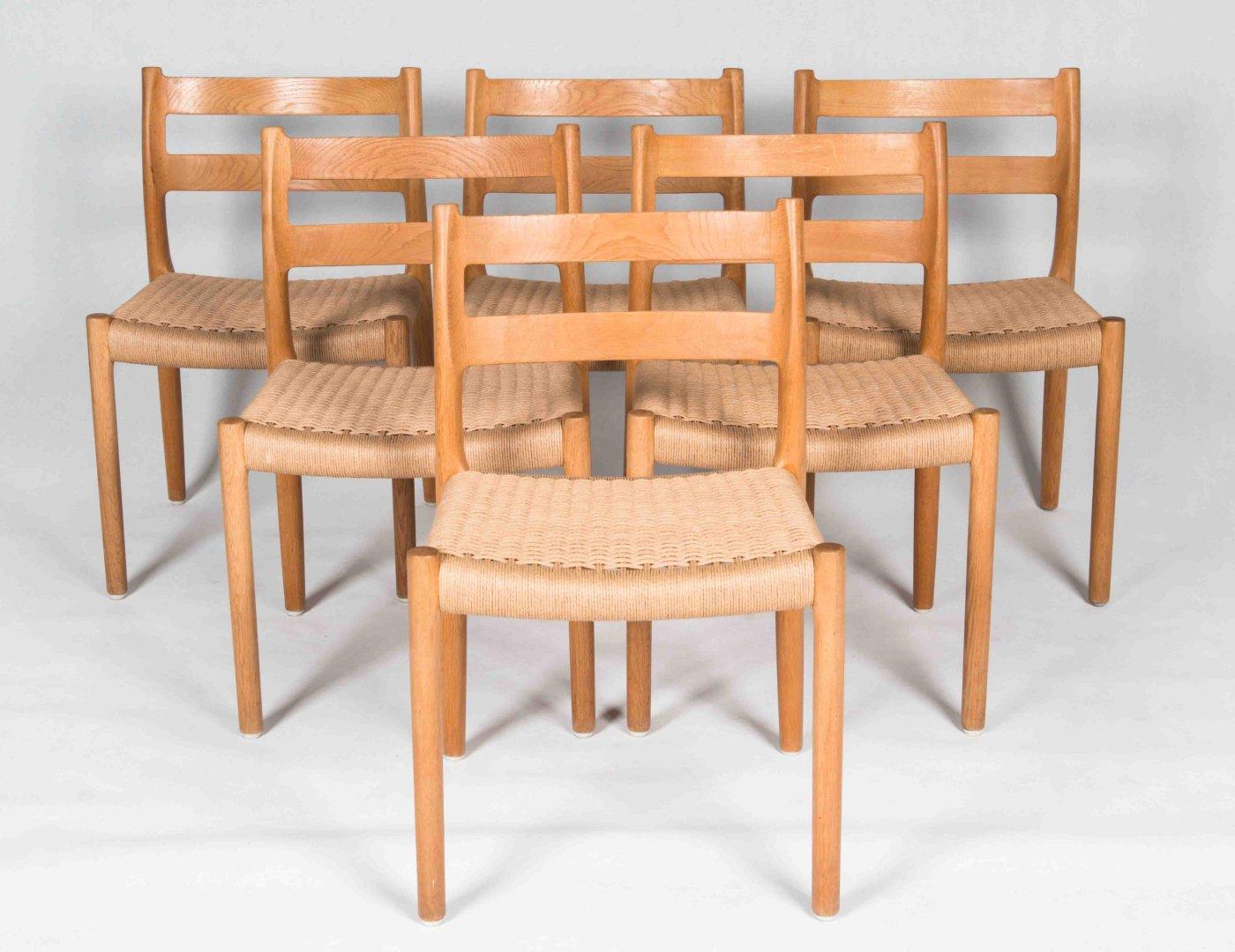Danish vintage dining chairs n o moller oak