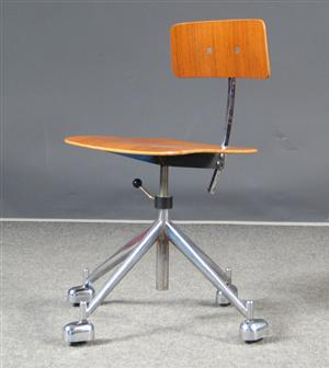 Danish Vintage Office Chair Kevi Chrome Base And Teak Seat And