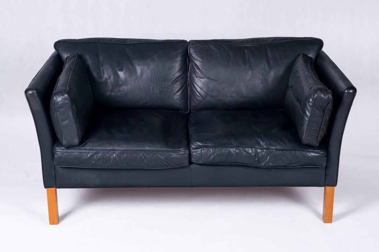 Danish 2 Seater Leather Sofa Made By Stouby Bo Butik Danish  ~ Vintage Black Leather Sofa