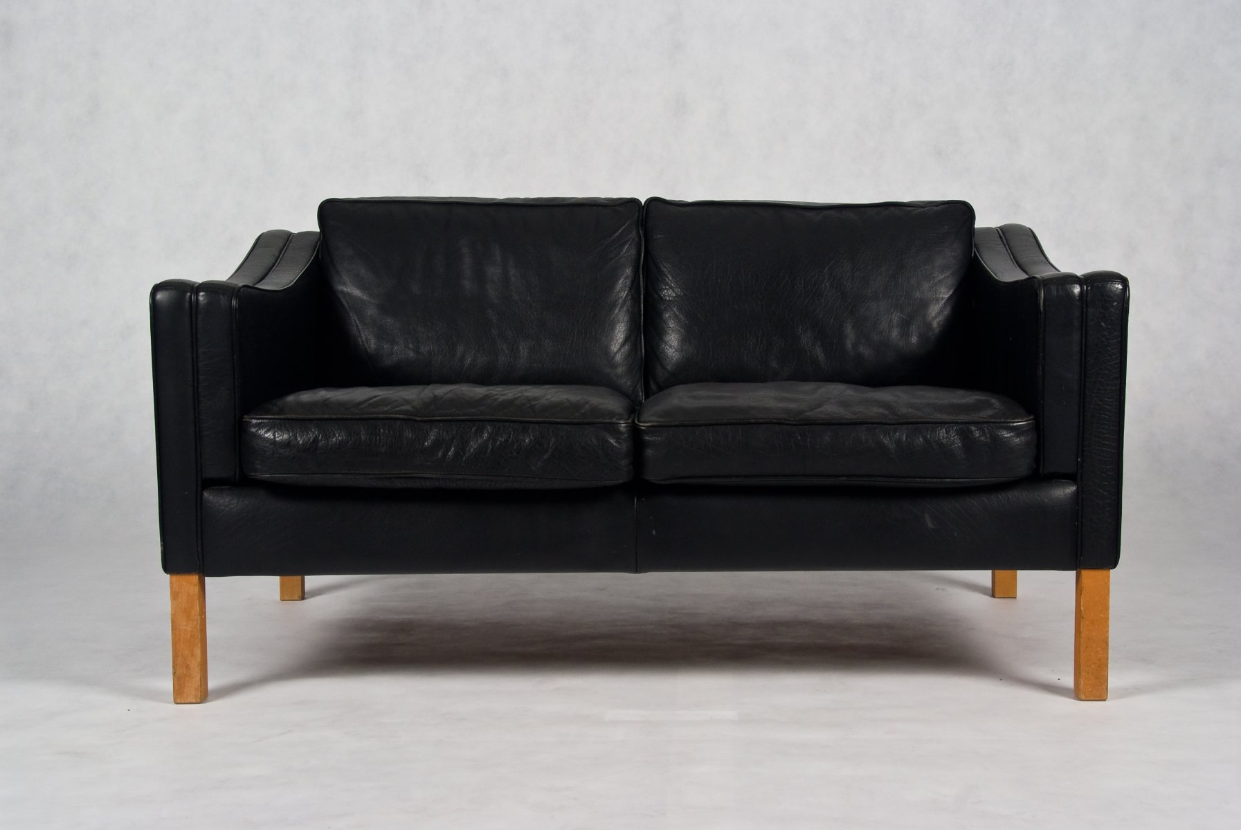 Danish black leather sofa for Leather sofa and loveseat
